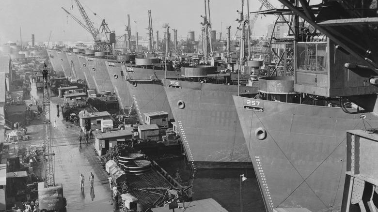 Liberty Ships docked in California