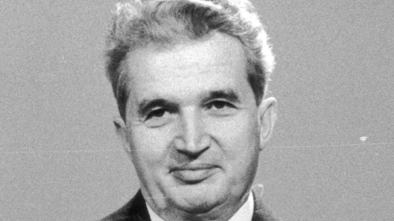 Ceausescu addressing Romania on television