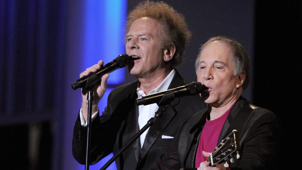Folk rock musicians Art Garfunkel and Paul Simon