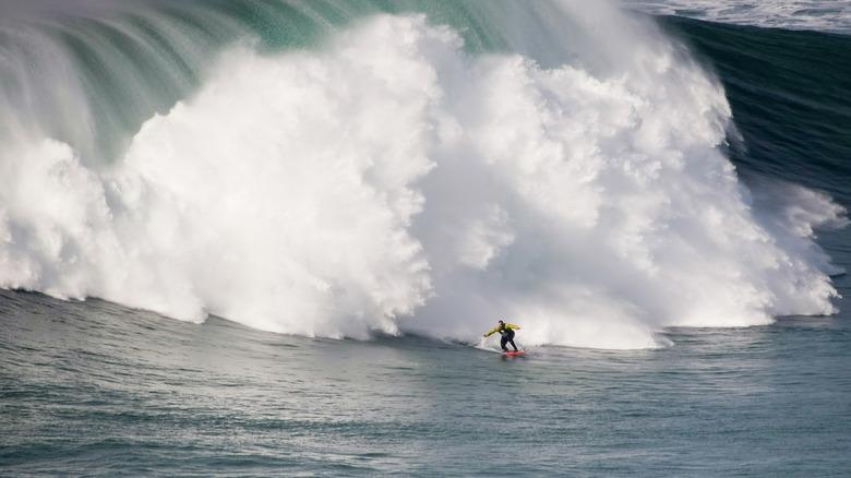 Garrett McNamara surfing in Nazaré