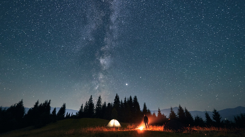 Camping in the night sky