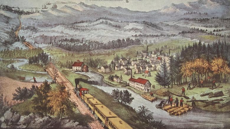 1870 lithograph of railroad