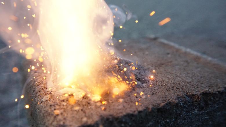 gunpowder burning