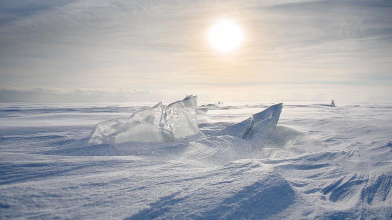Sun over the Antarctic desert