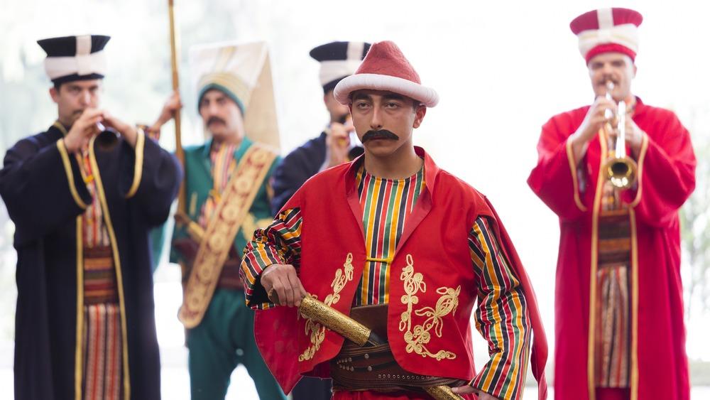 Turkish men dressed as Janissaries