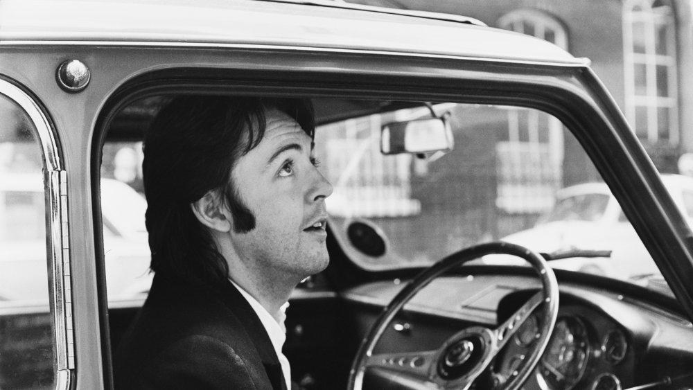 Paul McCartney in a car