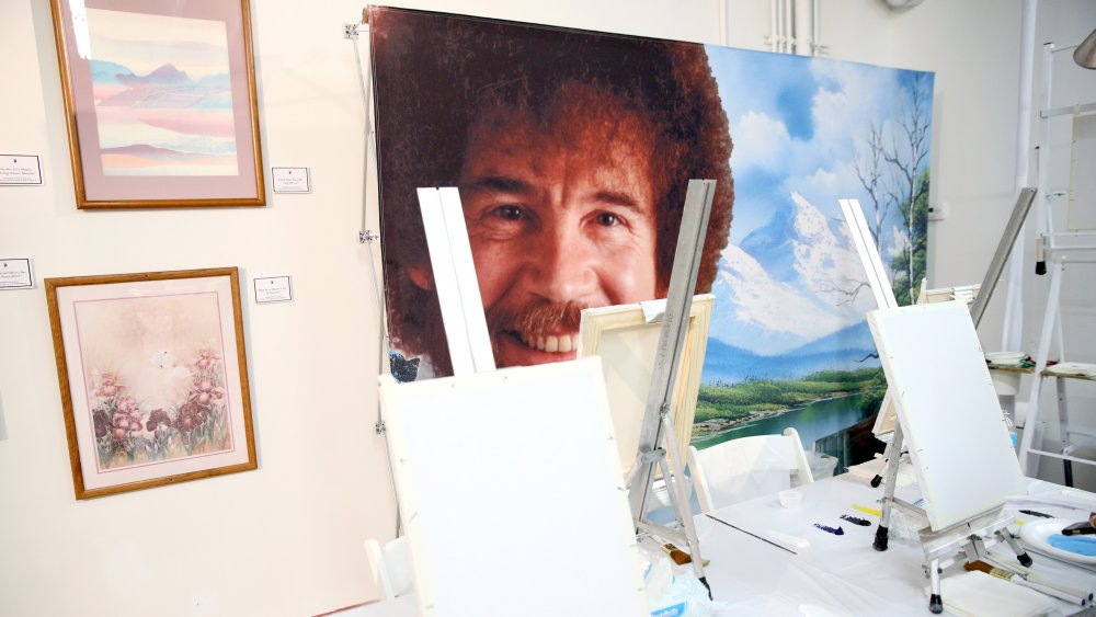 Bob Ross instruction setup at When The Art Comes Down Miami Beach hosted by Super 8 on December 1, 2016 in Miami, Florida