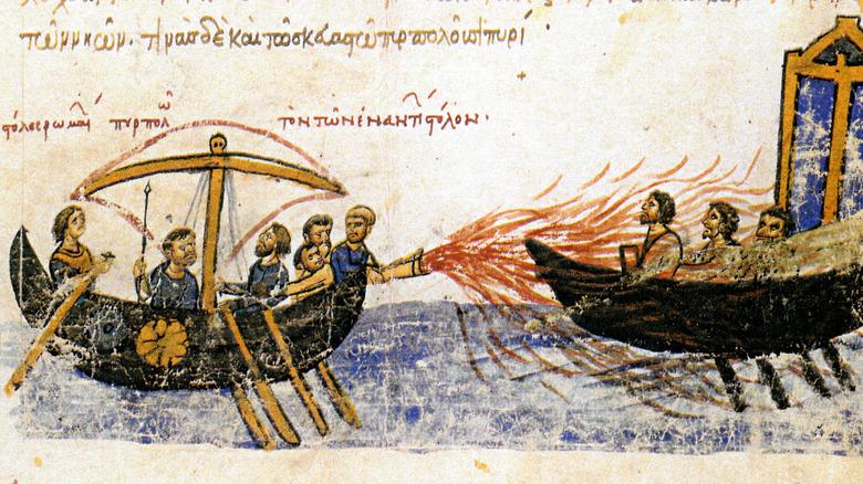 illustration of Byzantine ship flamethrower