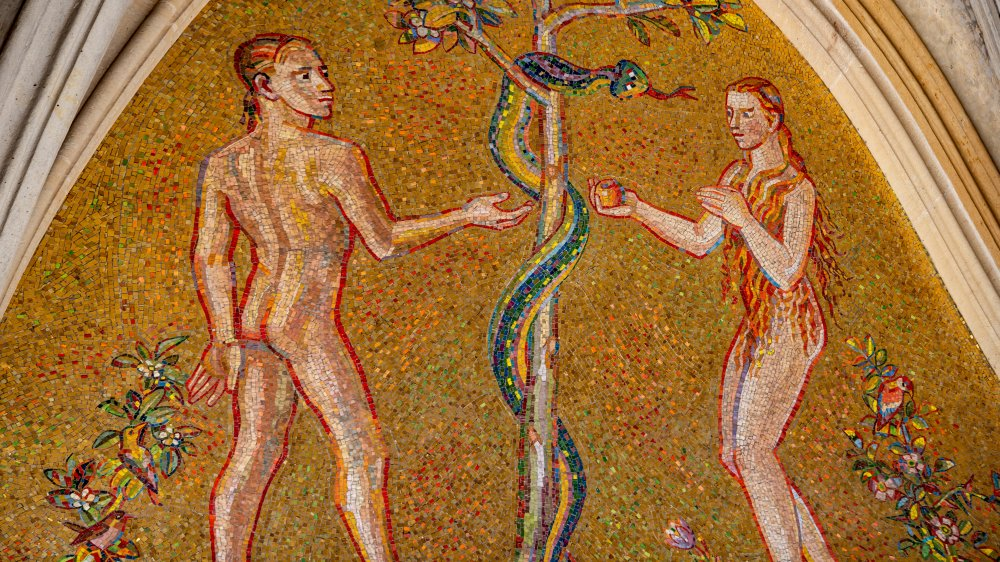 A tile depiction of Adam, Eve, and the serpent in the Garden of Eden