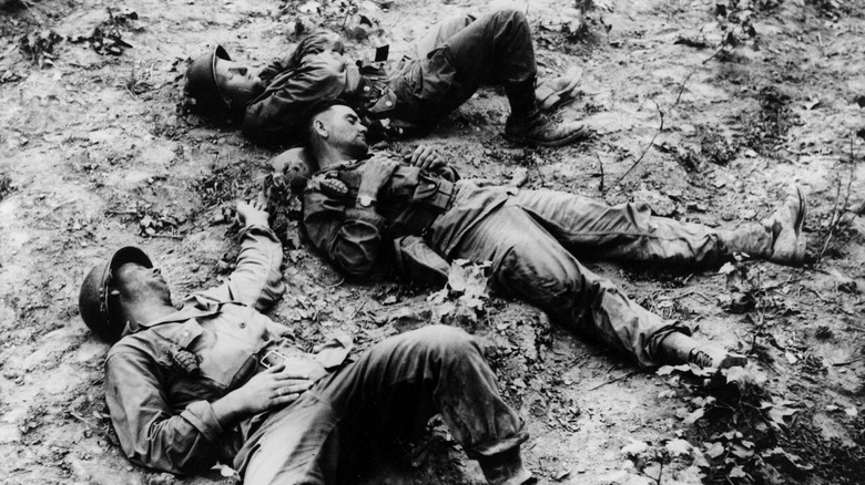 U.S. soldiers resting during the Korean War