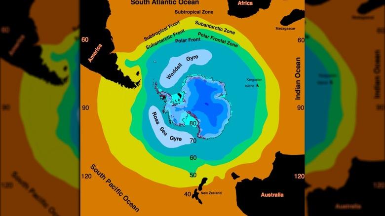 Southern Ocean around Antarctica map