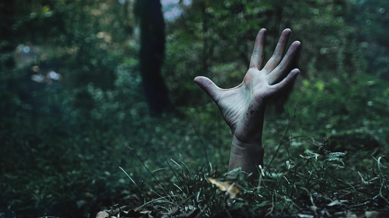hand emerging from ground