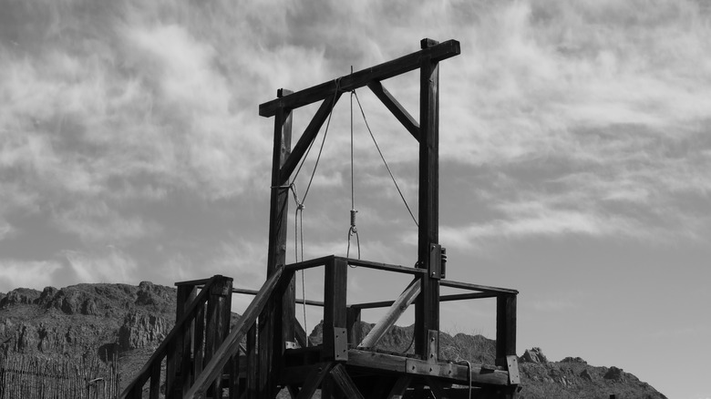 black and white gallows