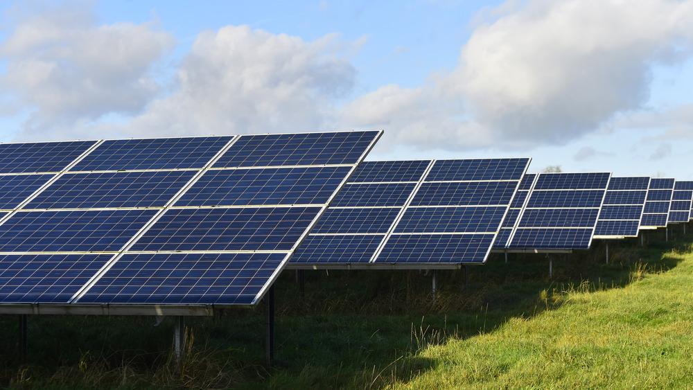 Solar array in a field