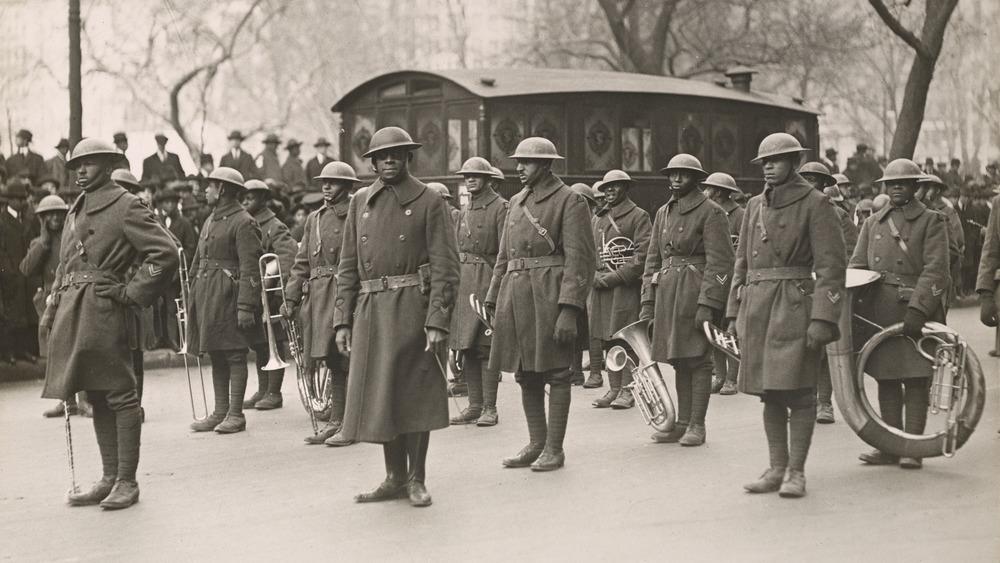 Harlem Hellfighters Regimental Band standing in formation