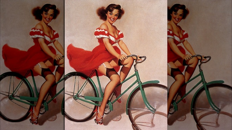 Illustration of pin-up girl on bicycle