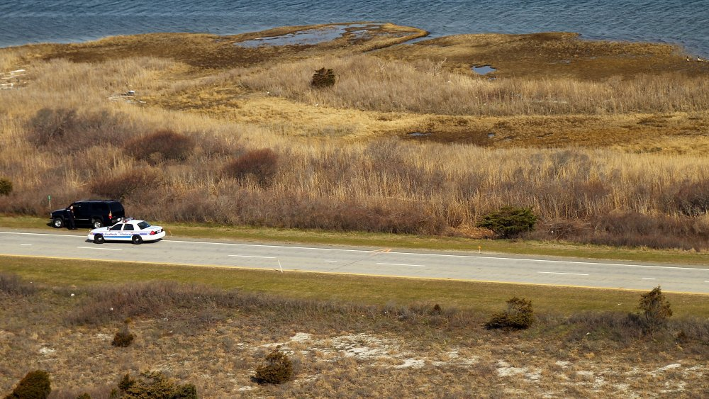 Cop car investigating the scene at Gilgo Beach