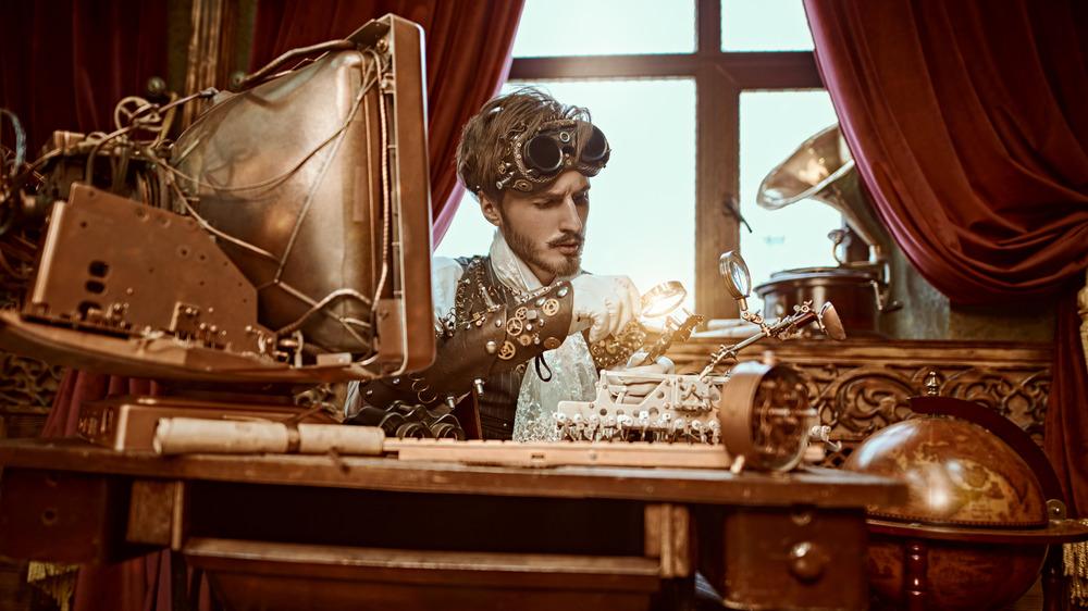 A steampunk inventor
