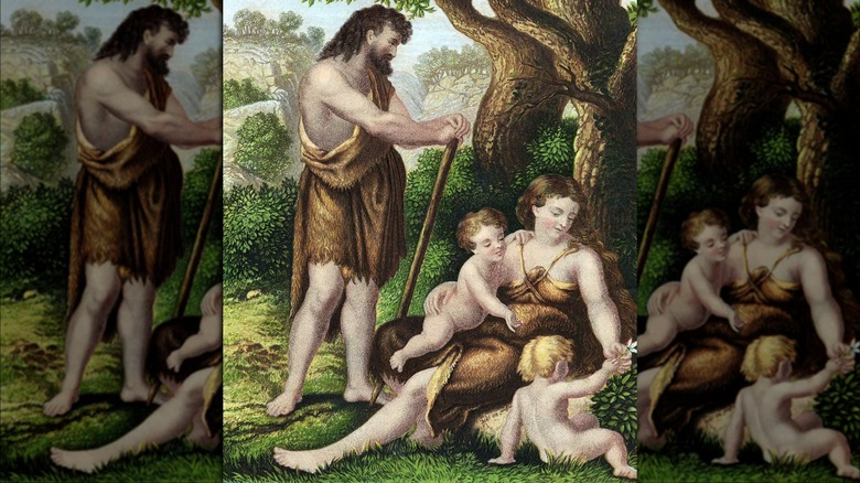 Adam and Eve with Cain and Abel painting