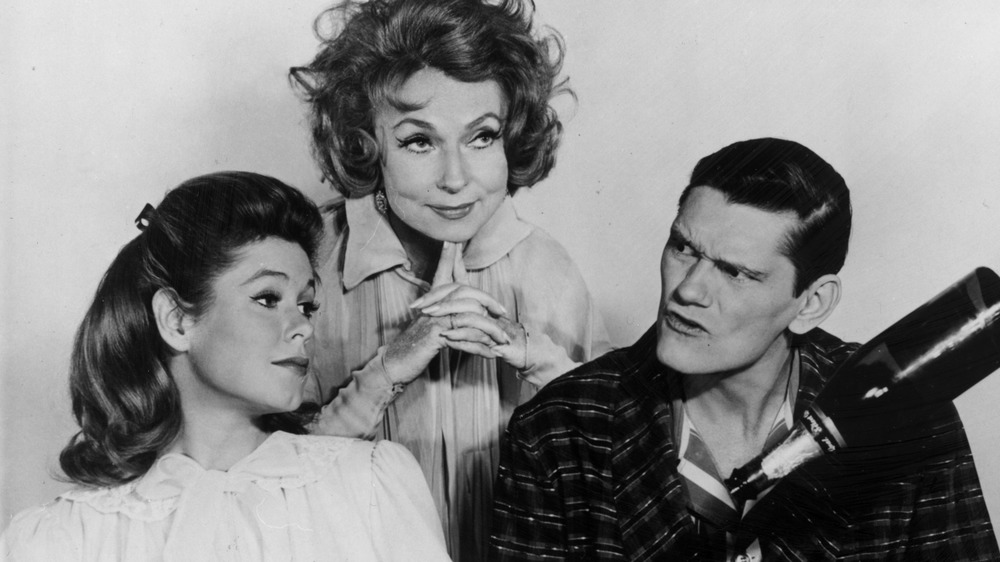 Elizabeth Montgomery, Agnes Moorehead, and Dick York looking off to the side
