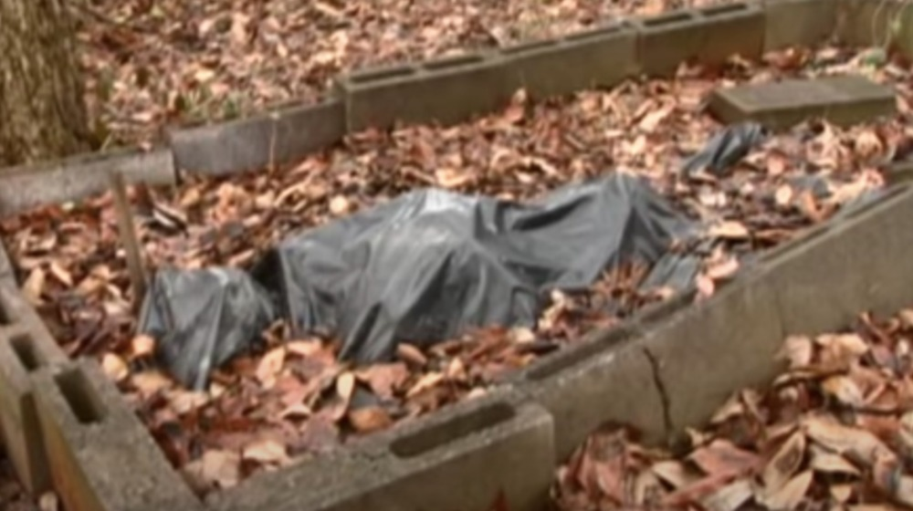 bag covered body surrounded by leaves