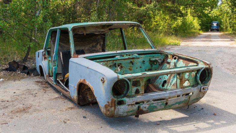 car in Chernobyl