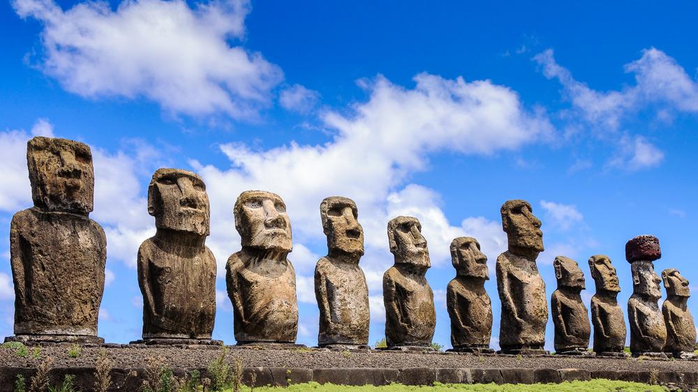 Moai line at Easter Island