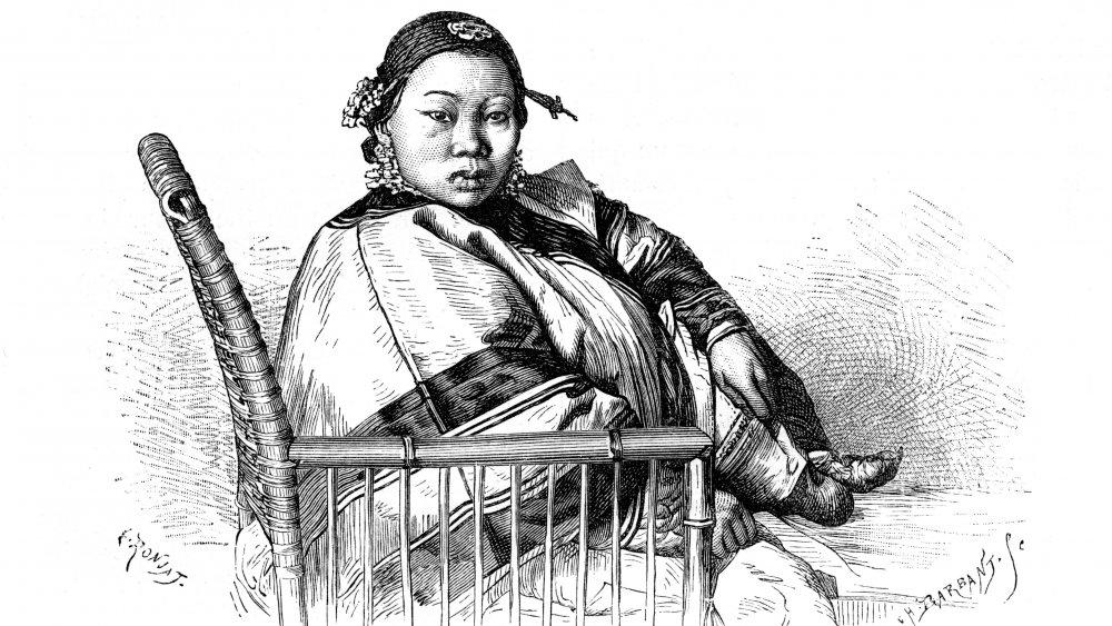 woman undergoing foot binding