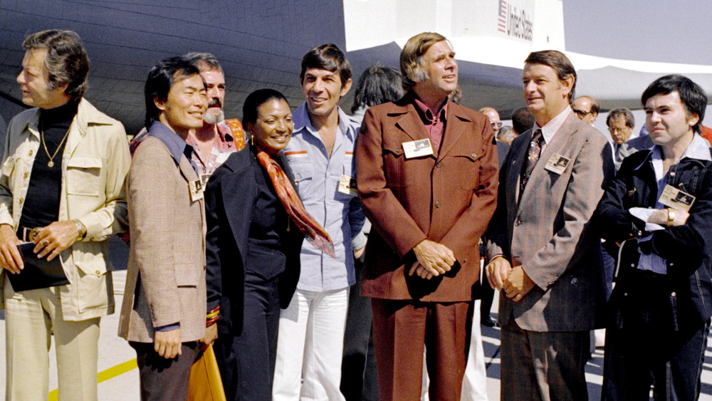 Gene Roddenberry (third from right) and the cast of the original Star Trek in 1976