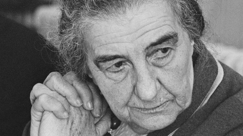 Golda Meir clasped hands