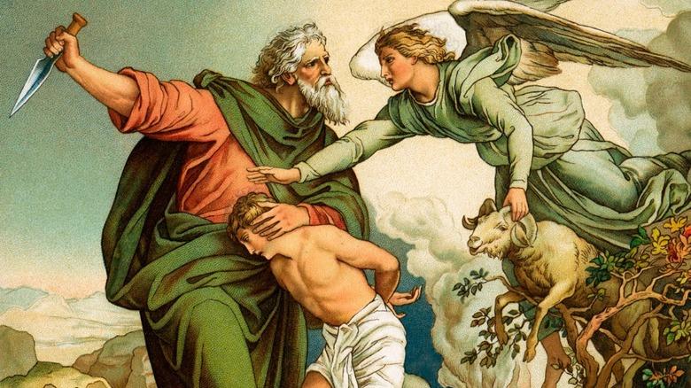 Abraham tries to sacrifice Isaac instead of a ram London c.1880