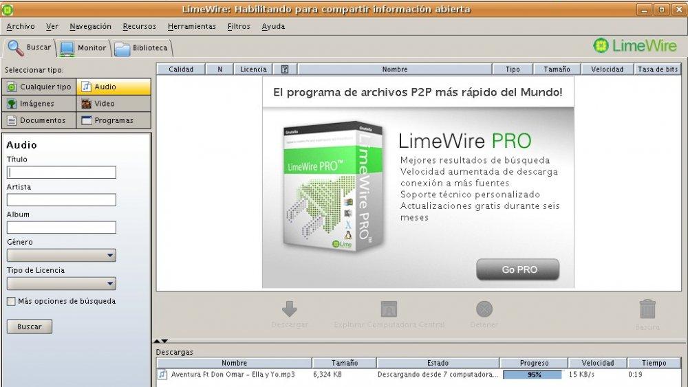 LimeWire Screen