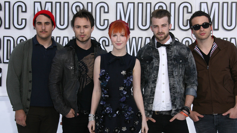 Paramore standing for photo