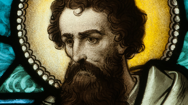 stained glass image of Paul the Apostle
