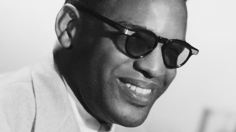 portrait of Ray Charles at the piano