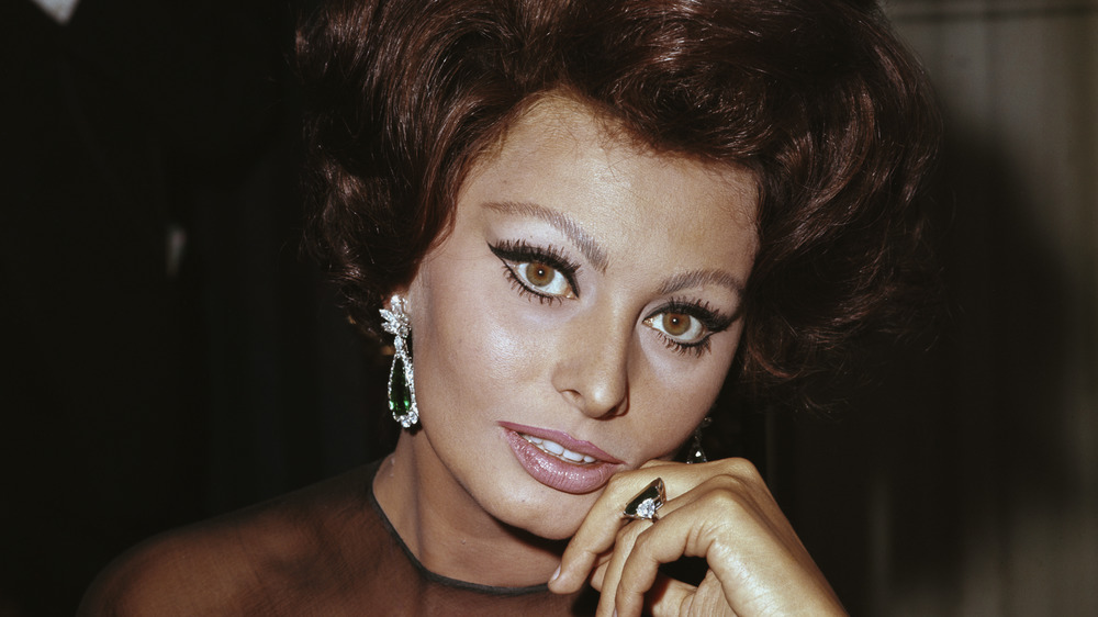 Sophia Loren looking at camera