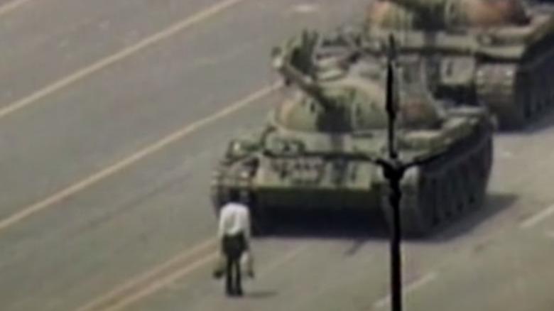 Tank Man in front of tanks