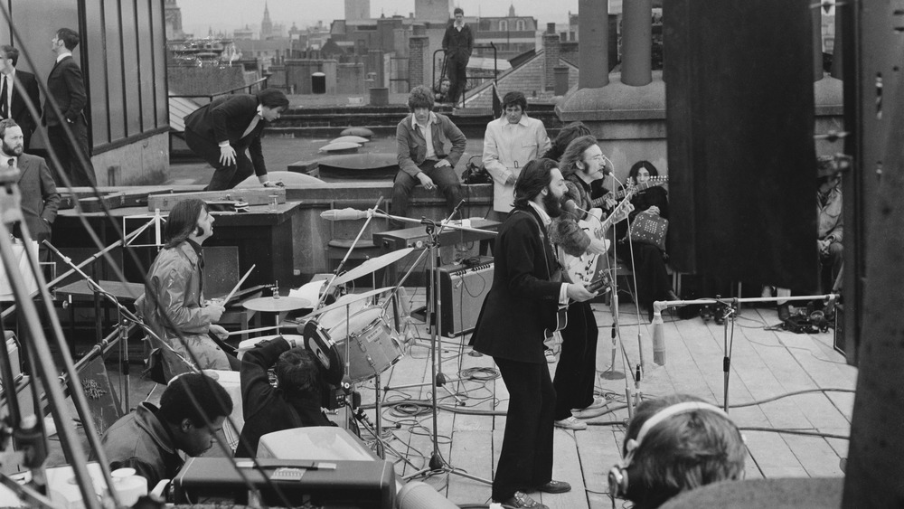 The Beatles on a roof