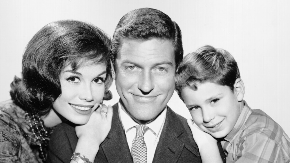 Dick Van Dyke with Mary Tyler Moore, Larry Matthews, all smiling