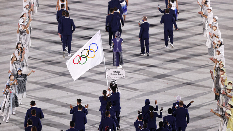 Refugee Olympic Team members at opening ceremony