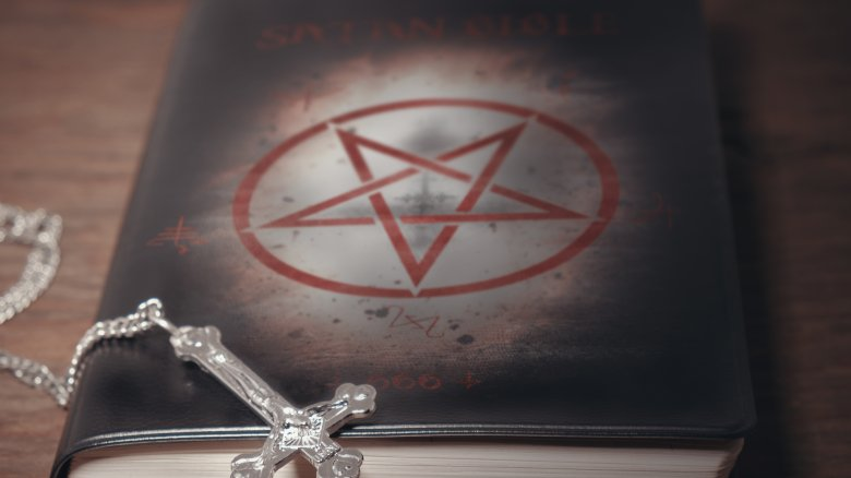 pentagram, book, upside down cross