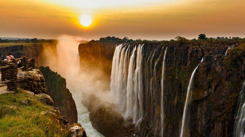 Victoria Falls at sunset