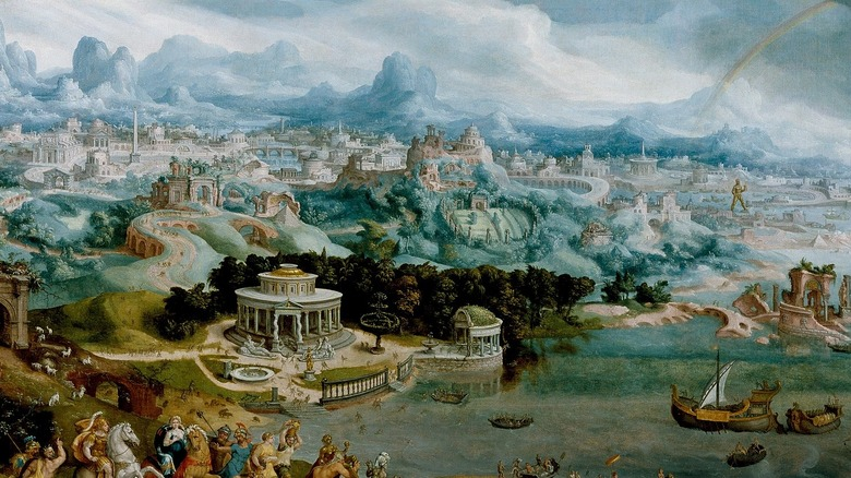 Panorama with the Abduction of Helen Amidst the Wonders of the Ancient World, Maerten van Heemskerck, 1535