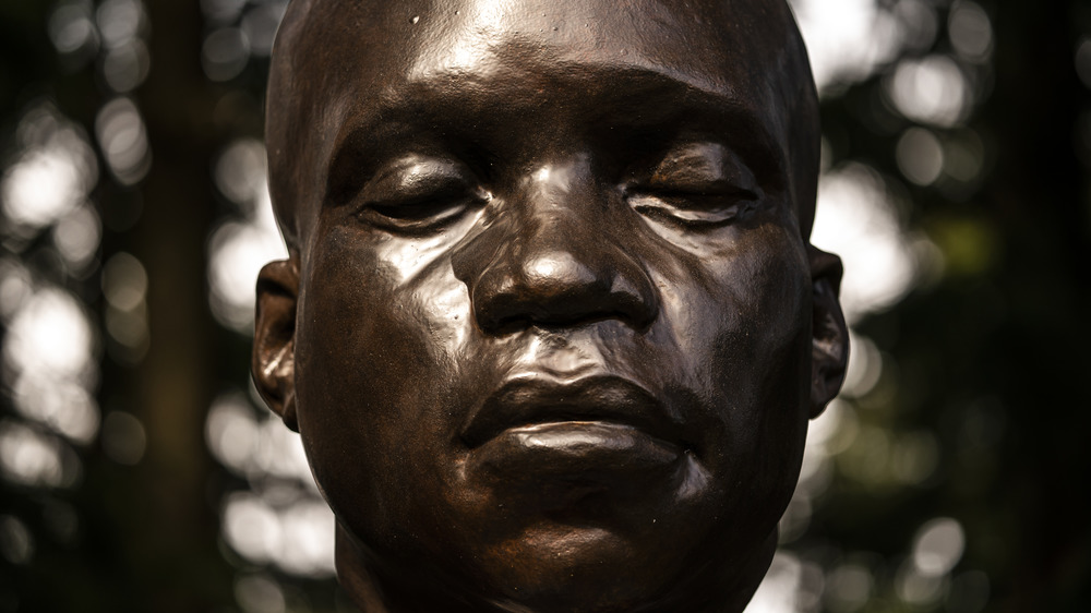 A statue of York, the only Black member of the Lewis and Clark Corps of Discovery, stands in Mt. Tabor Park where it was mysteriously erected last week on March 1, 2021 in Portland, Oregon.
