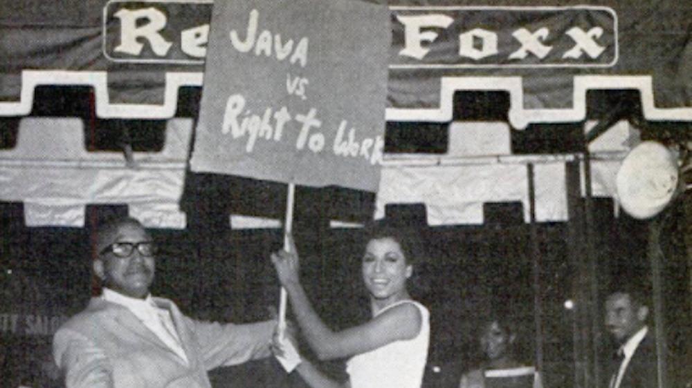 Sir Lady Java protesting outside Redd Foxx Club, 1967