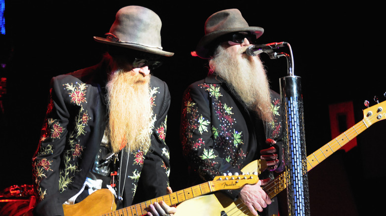 Billy Gibbons and Dusty Hill of ZZ Top on stage