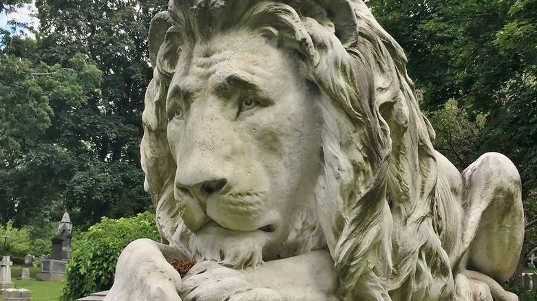 Lion monument in a garden cemetery