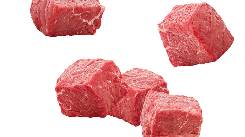 Falling cubes of meat