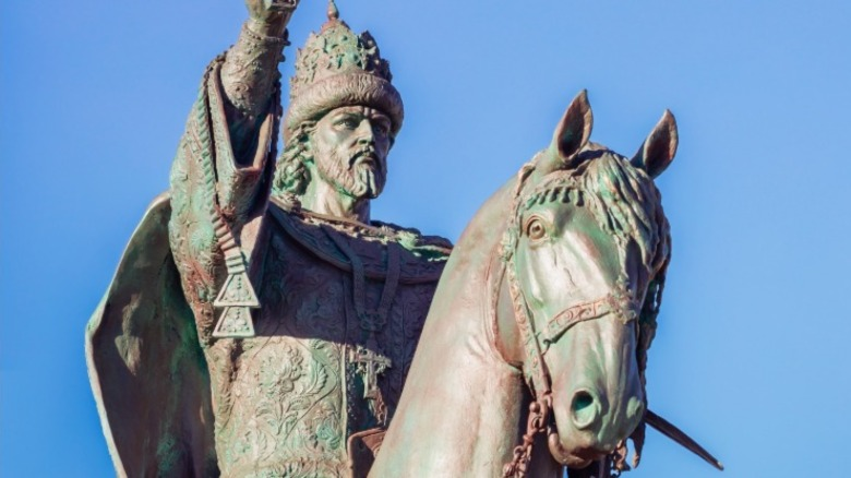 Statue of Ivan the Terrible with blue sky