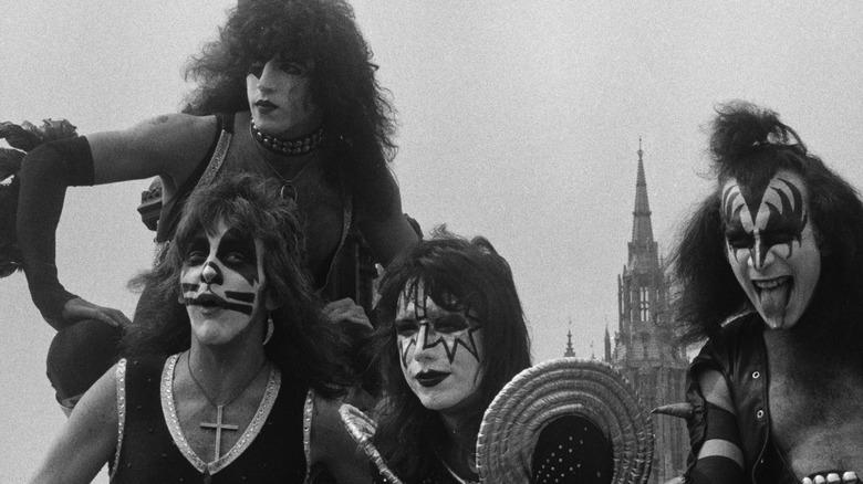 KISS posing in London, 1976